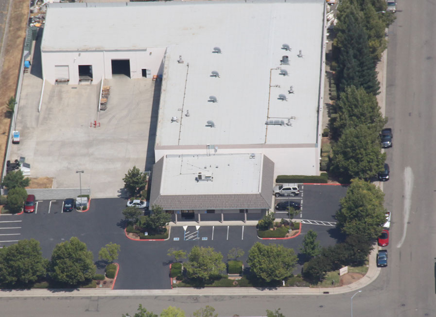 Aerial view of the Scribner Plastics manufacturing facility, southern view.